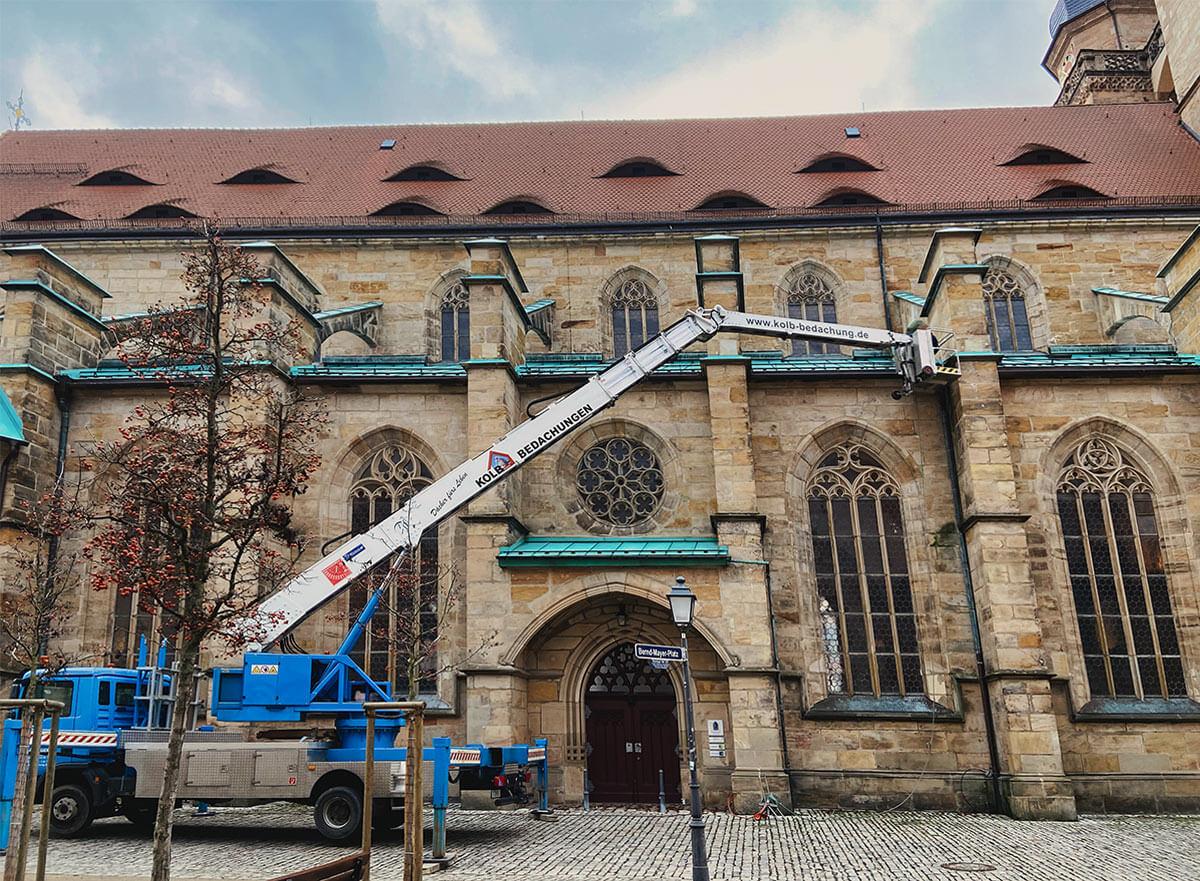 Kolb Bedachungen im Notfalleinsatz bei der Bayreuther Stadtkirche